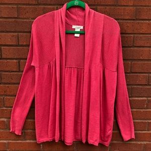 JH Collection M Coral Open Cardigan Sweater Ribbed
